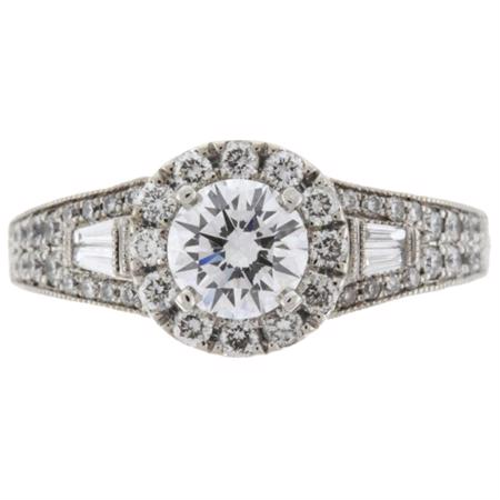 .70ct Ideal-cut Diamond with melees Ring in 14kt
