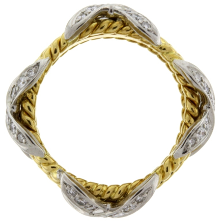 Diamonds .54cts Rope Four Row X Ring in 18kt & Platinum