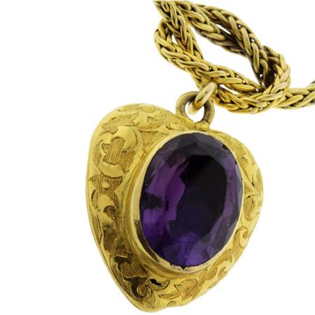 Amethyst 8.90ct Locket Charm Love Knot Bracelet in 14kt and 18kt