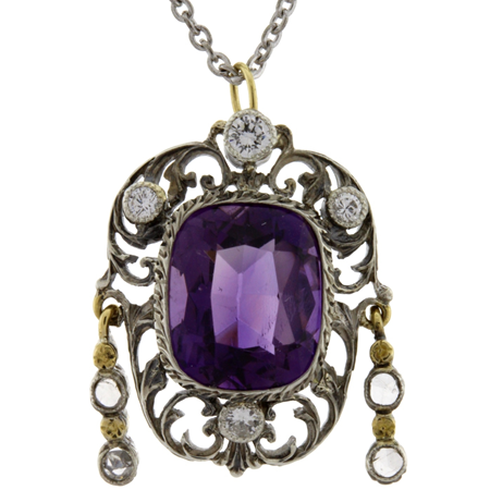 Amethyst 4.0cts and Diamonds Pendant in 14kt and Sterling