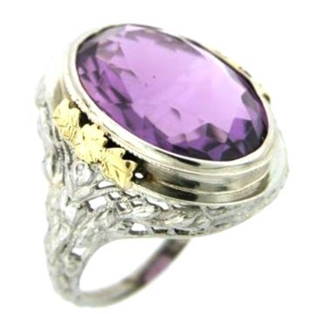 Amethyst 9.50ct Rose Motif Filigree Ring in 18kt