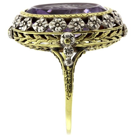 Amethyst 9.50ct Intaglio Ring in 14kt